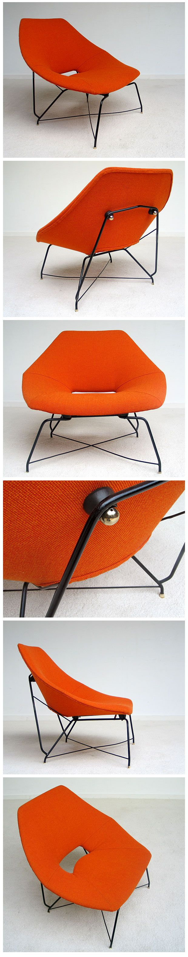 Side chair from Augusto Bozzi for Saporiti Italy, period 1956. Plywood structure, new orange wool upholstery. Finished with copper buttons on the back side. Black enameled metal structure with copper on the end.