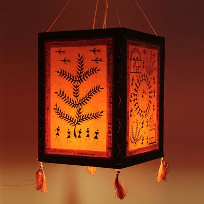 warli tribal painting- lampshade made of handpaper