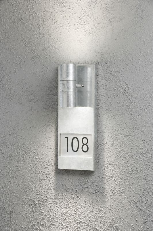 Modena vegglampe opp/ned GU10 galv inkl husnummer