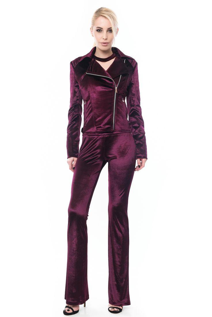 Biker velvet jacket Geaca biker din catifea mov inchis Pantaloni catifea evazati Velvet flared trousers