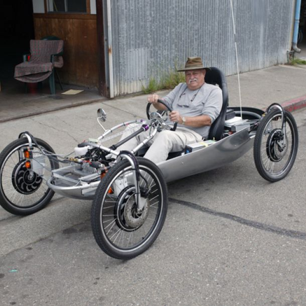 Home built neighborhood electric vehicle. Looks like 4 electric bicycle wheel hubs