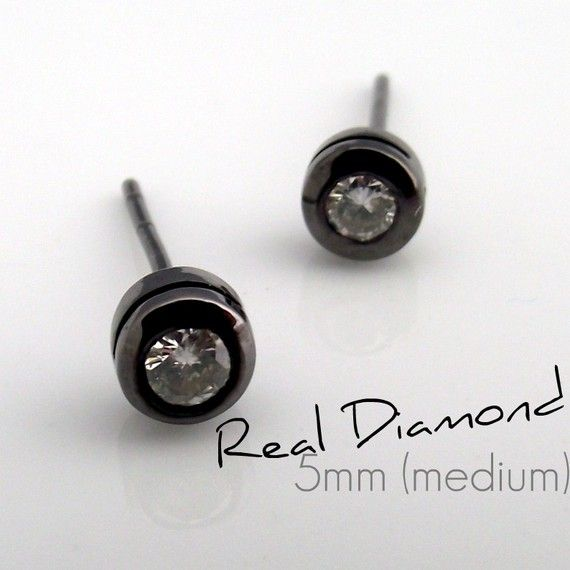 Promotion- Mens Real Diamond Black Stud Earrings - Earrings for Guys - 925 Sterling Silver Black Gold Plated - 0.20 carat Real Diamond 3mm