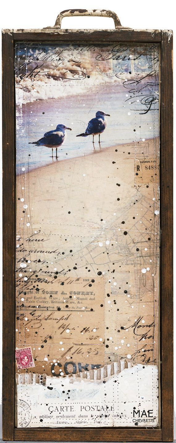 """Winter Birds No. 2 - 8"""" x 18"""" original mixed media painting - nautical shell beach collage with typography text"""