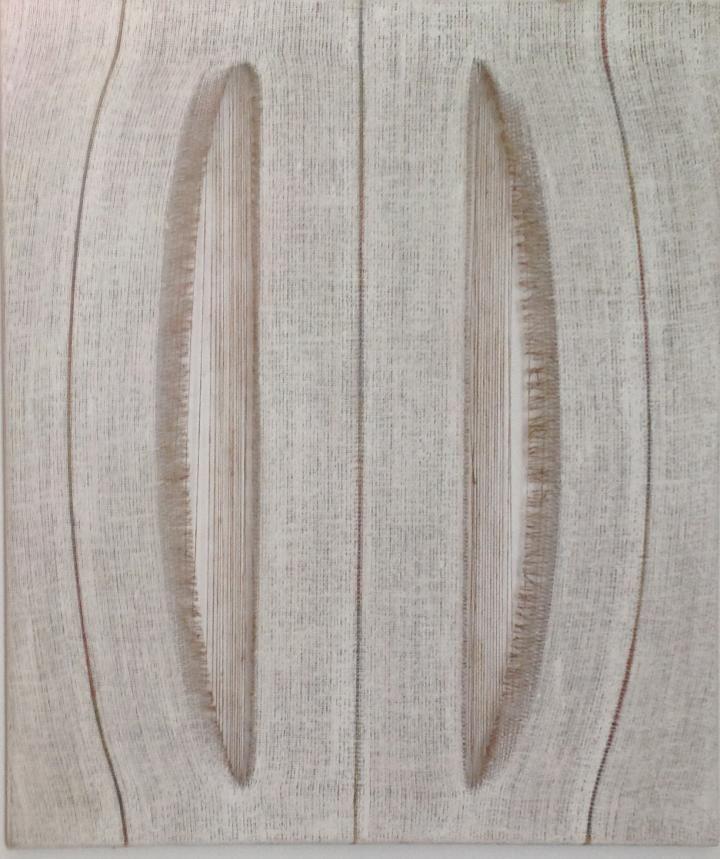 Titolo: Taglio specchiante  Tecnica: olio su tela di Juta edinterventi manuali  Dimensione: 80 x 100  L'opera è stata realizzata a Bardon...