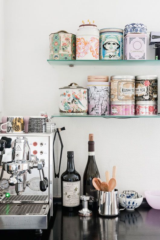 not only do loose leaf teas in tins taste better than tea bags, but the tins look nice sitting out and can be store other items when the tea is finished #home #kitchen #organization