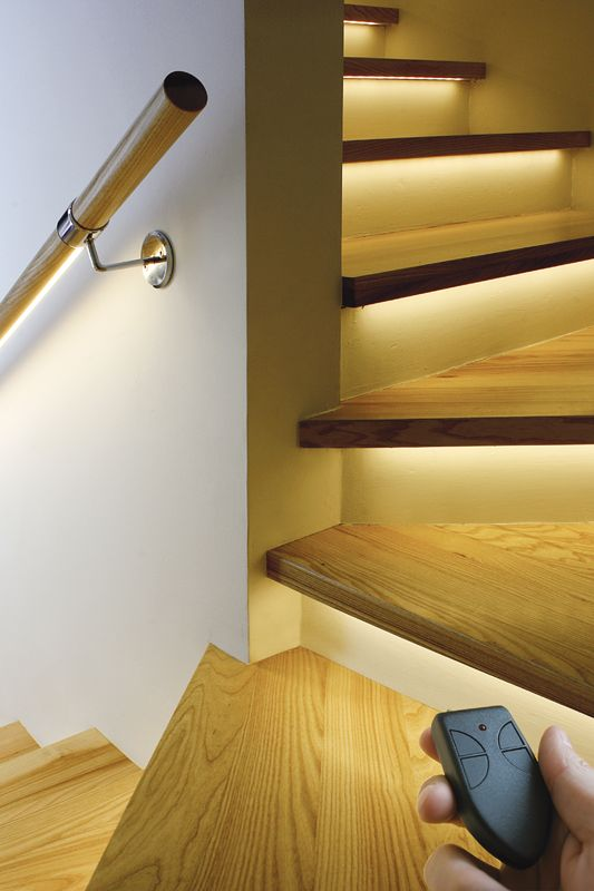 LED ribbons integrated into stairs. Great idea! Late at night, the stairs can be lit (and safe) without ruining your night vision with bright overhead lights. Would also be a great way to really highlight a gorgeous staircase.