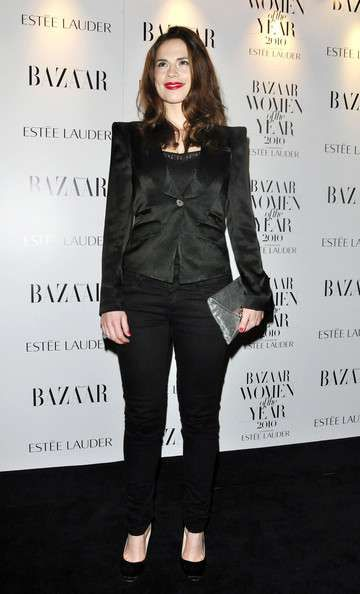 Hayley Atwell in One Button Tipped Blazer