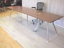Herman Miller Abak boardroom tables with chrome legs and new tops, available in various finishes and sizes.