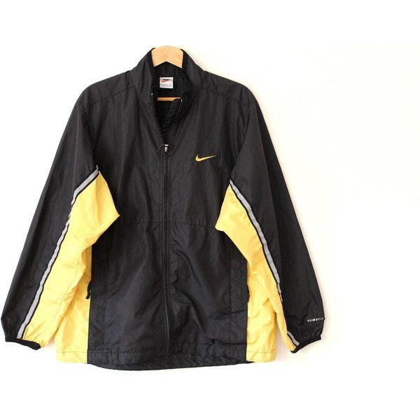 Vintage NIKE Windbreaker, 90's Nike Jacket, Black Yellow Nike... ($24) ❤ liked on Polyvore featuring activewear, activewear jackets, vintage sportswear, nike, nike activewear and nike sportswear