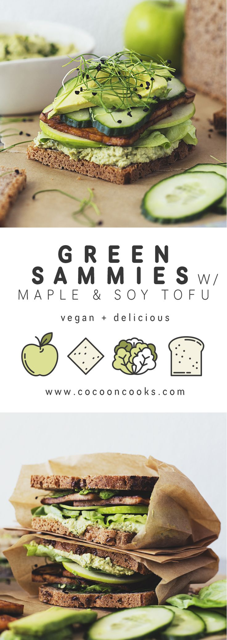 Green Sandwiches with Herb Hummus and Maple & Soy Crispy Tofu! Easy, healthy and delicious. #vegan #recipe