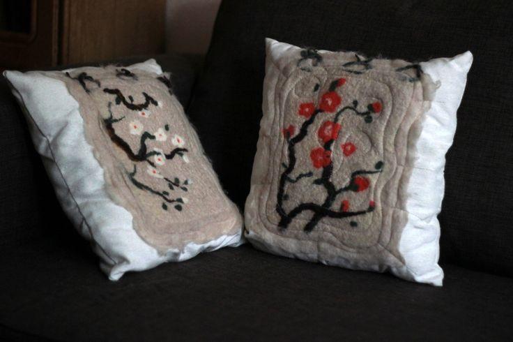 Set pillows cherry blossom by FeltFashionmagazine on Etsy