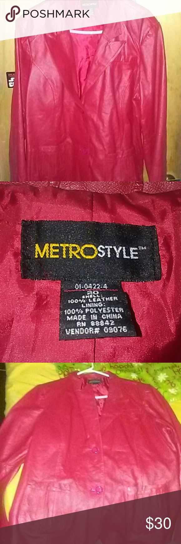Plus size red leather jacket. Plus size red leather jacket with buttons. Size 20 metro style Jackets & Coats