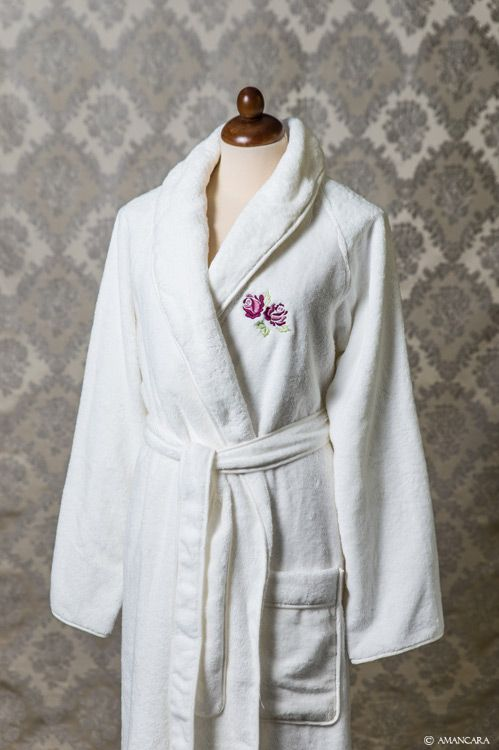 Add this feminine bathrobe to your luxury towel collection.