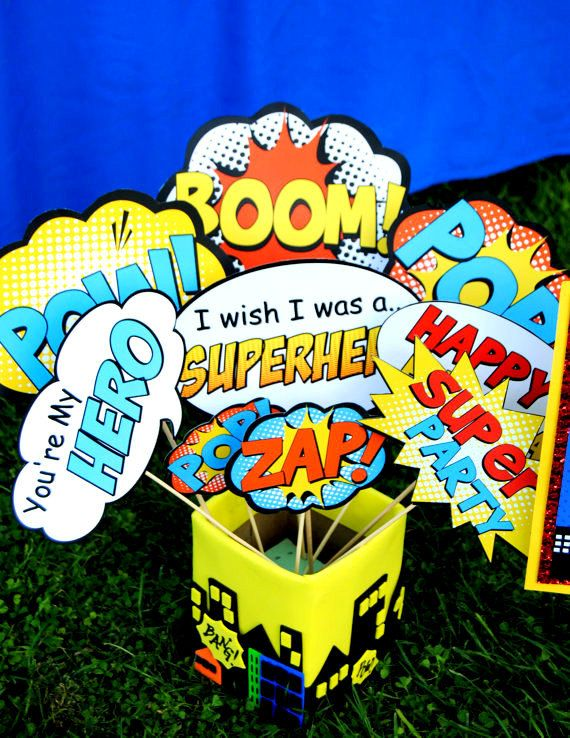 SUPERHERO Party PHOTO Props Super Hero party by KROWNKREATIONS