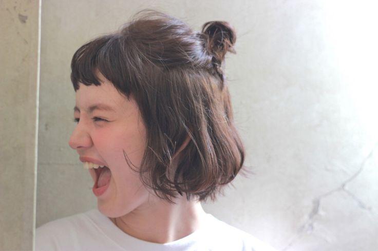 Short hair 1/2 up bun