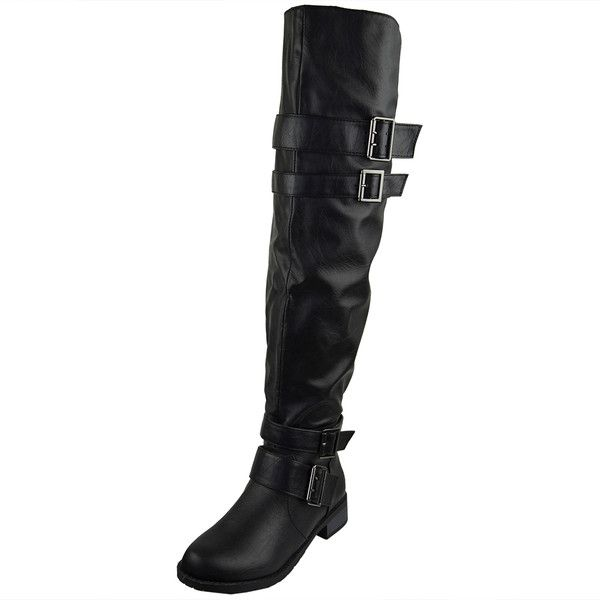 Womens Knee High Boots Multiple Buckle Accent Motorcycle Riding Shoes... (1,455 PHP) ❤ liked on Polyvore featuring shoes, boots, black, over knee boots, thigh high boots, thigh boots, black knee boots and black over-the-knee boots