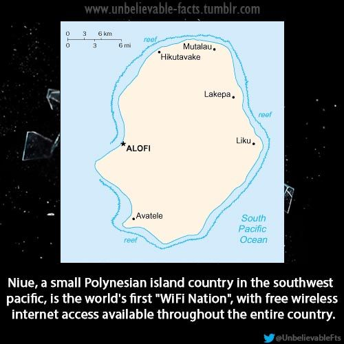 """Niue, a small Polynesian island country in the southwest pacific, is the world's first """"WiFi Nation"""", with free wireless internet access available throughout the entire country."""