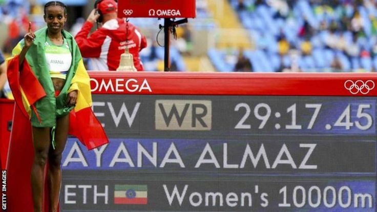 Ethiopia's Almaz Ayana smashed the world record by over 14 seconds to win Olympic gold in the women's 10,000m in Rio.