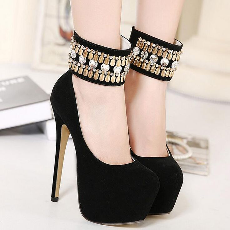 2016 womens high heels shoes Rhinestone black pumps women party shoes platform pumps wedding shoes stiletto heels dress shoes alishoppbrasil