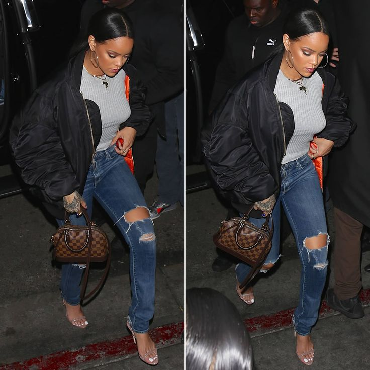 Rihanna Vetements black oversized bomber jacket, Citizens of Humanity premium vintage Arley distressed jeans in Ramone, Brian Atwood Aniston slingback sandals, Louis Vuitton Alma BB damier ebene handbag, Jacquie Aiche scarab ring and cameo rings