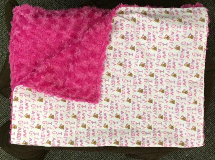 """I love grandma"" stroller blanket with pink rose. small blanket for travel or in the stroller."