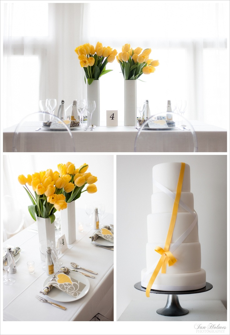 Modern wedding with yellow