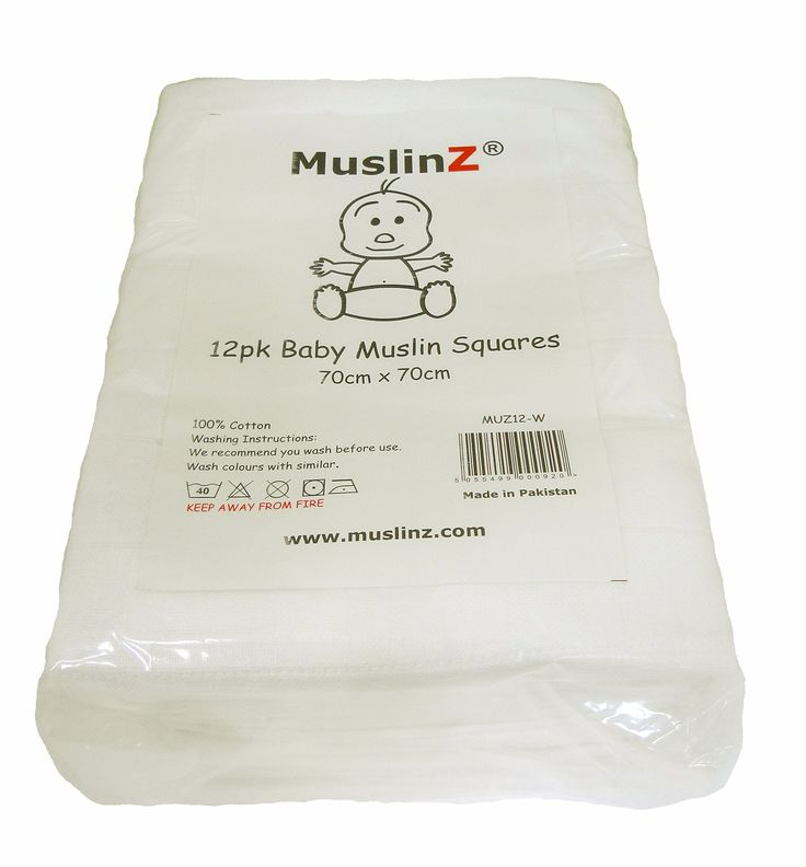Muslinz Premium High Quality Baby Muslin Squares (White, Pack of 12) - £16