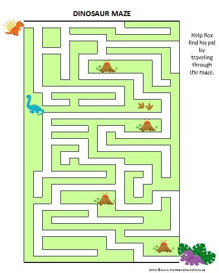 Dinosaur Game Maze (Free Printable) #Dinosaurs