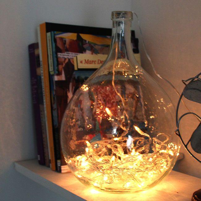 Dame-jeanne en verre transparent // vintage //
