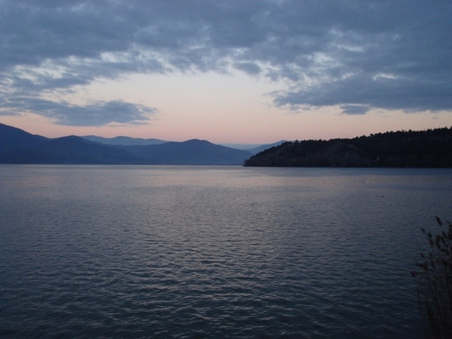 View of the Kastoria's Lake at the sunset