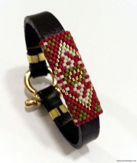 Bracelet Beaded and Leather Bracelet Beaded by NazoDesign