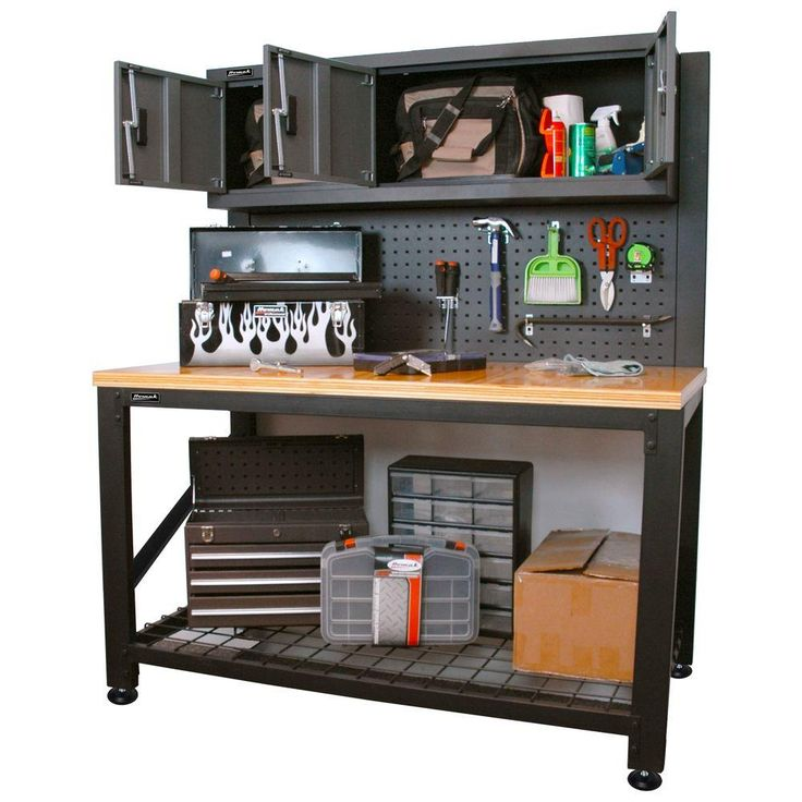 Homak Garage Series 5 ft. Industrial Steel Workbench with Cabinet Storage-GS00659031 at The Home Depot