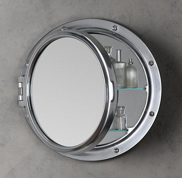 Spa High Seas Style for the bath: Porthole Mirrored Medicine Cabinet