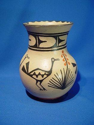 Pueblo Pottery, Zia-'Zia Pueblo Pottery, Tall Olla with four birds, Signed Arthur Hilda Coriz'-Len Wood's Indian Territory