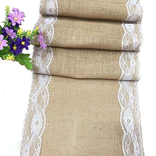 Pizzo tessuto di lino rettangolare tovaglie tavolo, Centrini per la decorazione festa di nozze mobili, 30x 180cm