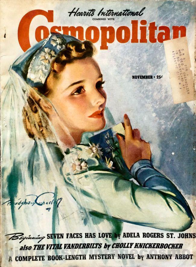 "Cosmopolitan magazine, NOVEMBER 1939 Model: Elizabeth ""Libby"" Harsden Artist: ""Autumn Bride"" Bradshaw Crandell"
