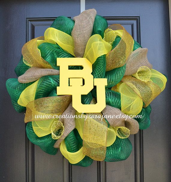 Baylor University Mesh Wreath - Baylor Wreath on Etsy, $80.00
