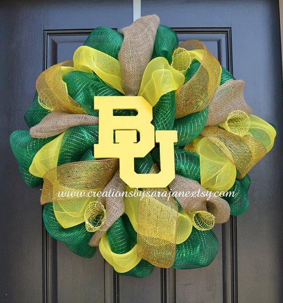 Baylor University Mesh Wreath - Baylor Wreath on Etsy, $80.00