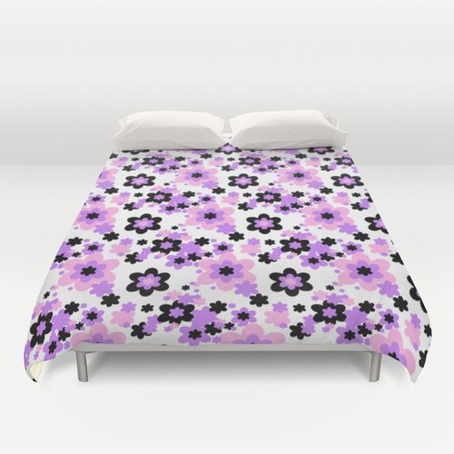 Duvet Cover Teen Girl Bedroom Pink Purple Black Floral Flower Bedding  Bedspread #decampstudios #Cottage