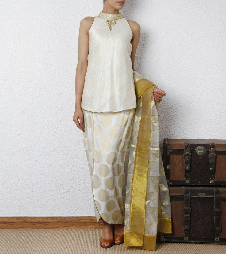 eige Silk Top with Chanderi Leaf Skirt & Dupatta