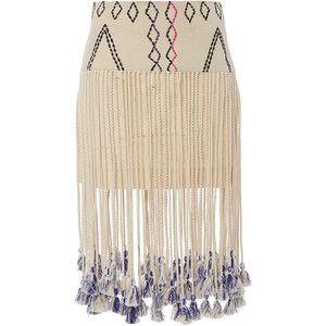 Gypset Silk Kenza Fringed Aztec Print Skirt