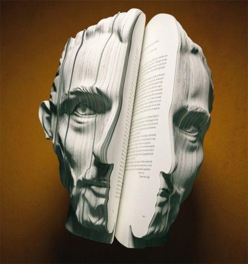 Facebook: Books, Sculpture, Book Art, Written Portraits, Bookart, Paper Art, Facebook, Van Gogh, Design