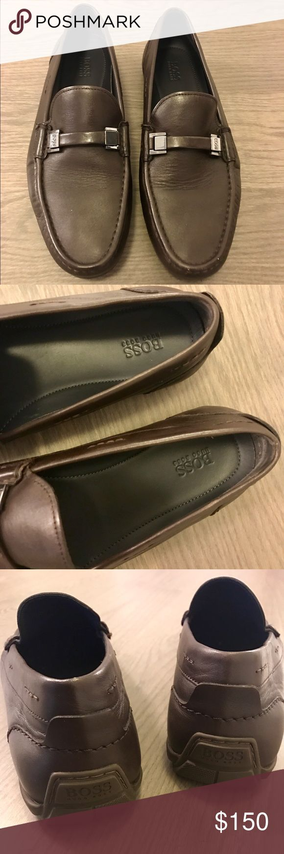 Hugo Boss Brown Leather Loafers Worn once, were too small for my boyfriend so he's selling. Excellent condition, like new. My first men's listing! Hugo Boss Shoes Loafers & Slip-Ons