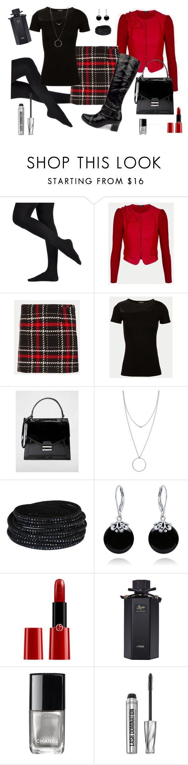 """En bottes noires vernies"" by delphine-delphe on Polyvore featuring mode, Botkier, Bling Jewelry, Giorgio Armani, Gucci, Chanel et Bare Escentuals"