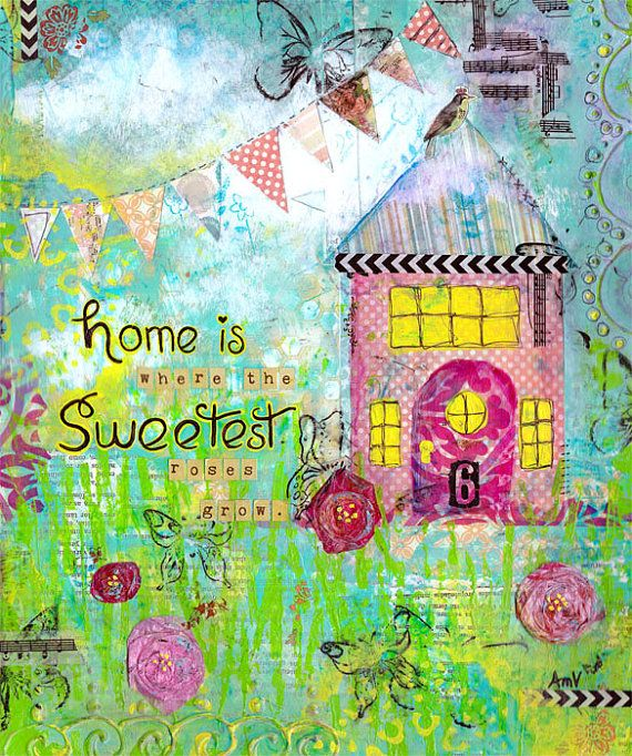 Folk Art Original Mixed Media Collage Painting Home by jellybeans, $75.00