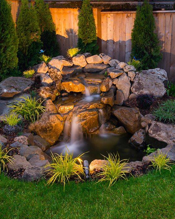 Big or small, strategically placed lighting brings ambiance and tranquility to your favorite waterscapes. Underwater lighting, solar lighting, and spotlighting are all options to consider when planning out your yard design.