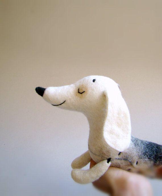 Natasha - Felt Dachshund, Art Puppet, Lovely White Dog, Marionette, Felted, Cute StuffedToy. white brown grey neutrals.  MADE TO ORDER