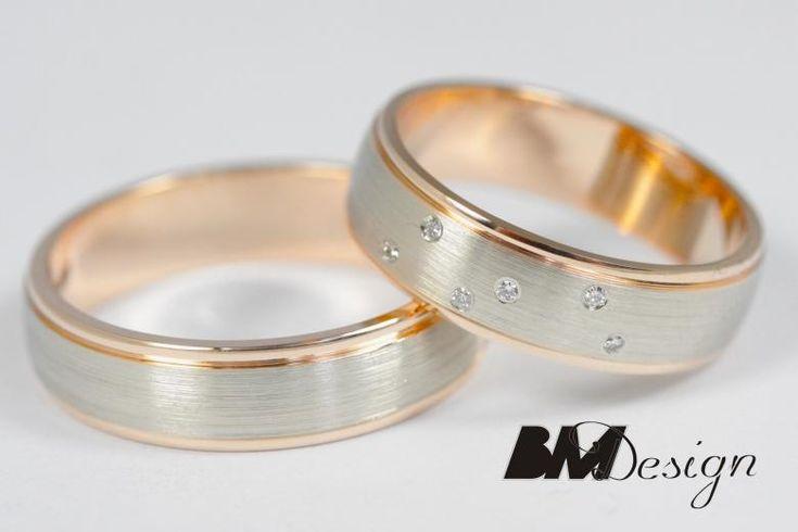 Obrączki ślune połączenie białego i czerwonego złota różowe złoto i diamenty. #obraczkislubne #obrączki #Rzeszów #diamenty #Carbon #pierśconki #złotnik #Jubiler #naprawa #nazamówienie BM Design!