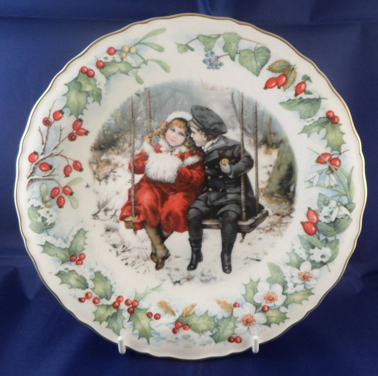 Christmas plate, V and A museum, Wedgwood bone china, times gone by, 1989 Christmas, with certificate, children on a swing, snowy scene by MaddisonsRainbow on Etsy