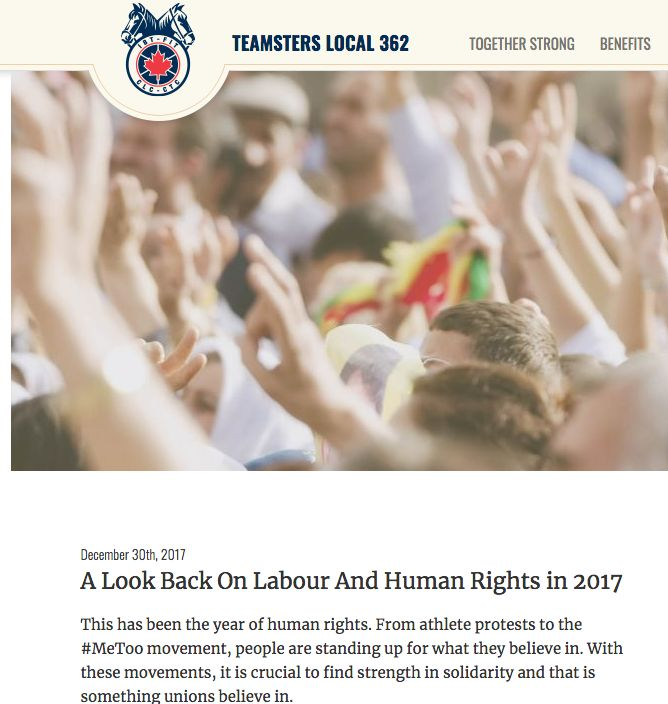 Dec 30, 2017 - Teamsters -  This has been the year of human rights. From athlete protests to the #MeToo movement, people are standing up for what they believe in. With these movements, it is crucial to find strength in solidarity and that is something unions believe in.